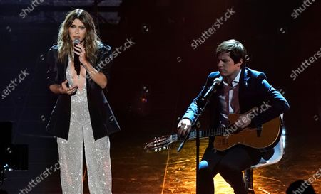 Kany Garcia, left, and Nahuel Pennissi perform at the 21st Latin Grammy Awards, airing, at American Airlines Arena in Miami