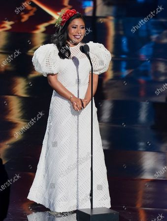 Stock Image of Host Yalitza Aparicio speaks at the 21st Latin Grammy Awards, airing, at American Airlines Arena in Miami