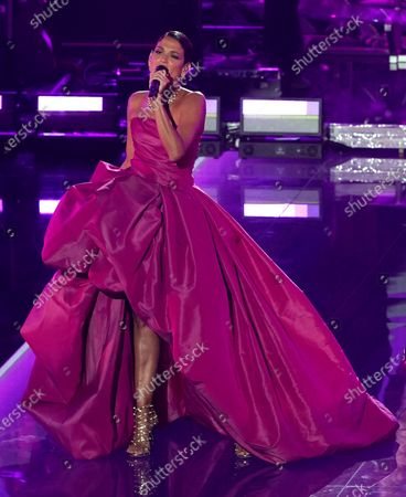Stock Image of Natalia Jimenez performs during a living legends tribute to Julio Iglesias at the 21st Latin Grammy Awards, airing, at American Airlines Arena in Miami
