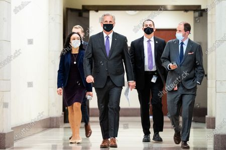 Stock Photo of House Minority Leader Kevin McCarthy (R-CA) walks towards the House Visitors's Center Studio A for his press conference.