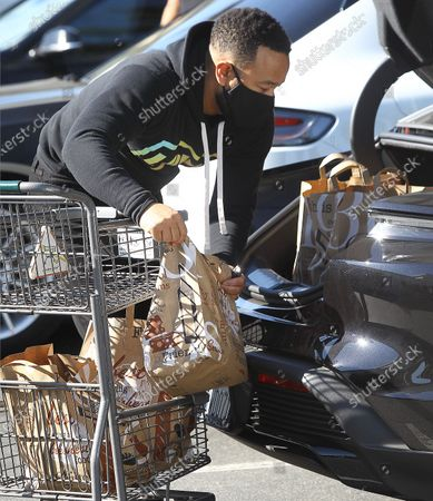 Stock Image of John Legend getting groceries in Beverly Hills