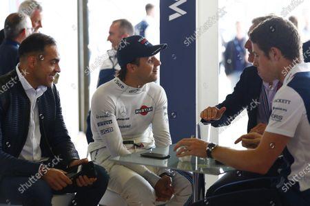 Williams 40 Event Silverstone, Northants, UK Friday 2 June 2017. L-R: Pastor Maldonado, Felipe Massa, David Coulthard and Paul di Resta. World Copyright: Sam Bloxham/LAT Images