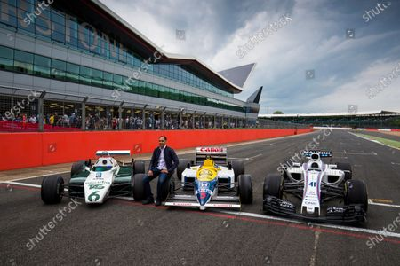 Williams 40 Event Silverstone, Northants, UK Friday 2 June 2017. Pastor Maldonado poses with a Williams FW08, FW11 and a Williams FW40 Mercedes.  World Copyright: Sam Bloxham/LAT Images