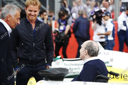 Williams 40 Event Silverstone, Northants, UK Friday 2 June 2017. Riccardo Patrese and Nico Rosberg talk to Sir Frank Williams. World Copyright: Joe Portlock/LAT Images