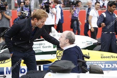 Williams 40 Event Silverstone, Northants, UK Friday 2 June 2017. Nico Rosberg talks to Sir Frank Williams. World Copyright: Joe Portlock/LAT Images