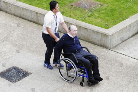 Williams 40 Event Silverstone, Northants, UK Friday 2 June 2017. Sir Frank Williams is pushed in his wheelchair by a carer. World Copyright: Zak Mauger/LAT Images