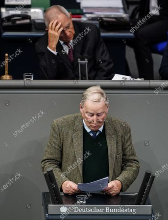 Alternative for Germany (AfD) faction co-leader Alexander Gauland speaks next to a President of the German Parliament Bundestag Wolfgang Schaeuble during a session of the German parliament Bundestag in Berlin, Germany, 20 November 2020. Members of Bundestag debate on attacks by guests of AfD members surrounding Wednesday's Infection Protection Act vote.