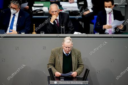 Stock Image of Alternative for Germany (AfD) faction co-leader Alexander Gauland speaks next to a President of the German Parliament Bundestag Wolfgang Schaeuble (c-up) during a session of the German parliament Bundestag in Berlin, Germany, 20 November 2020. Members of Bundestag debate on attacks by guests of AfD members surrounding Wednesday's Infection Protection Act vote.