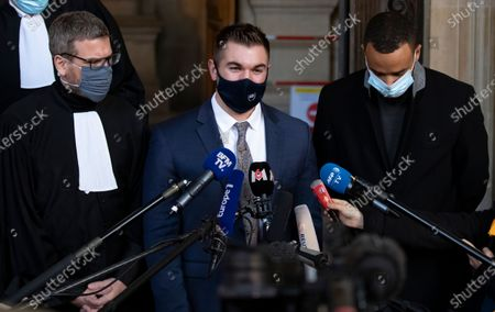 US citizens Alek Skarlatos (C) and Anthony Sadler (R) and French lawyer Thibault de Montbrial (C) leave the court room and hold a news conference during the fifth day of the Thalys attack trial, in Paris, France, 20 November 2020. On 21 August 2015, gunman Ayoub El-Khazzani opened fire with an assault rifle, shot and wounded three people on a Thalys train travelling between Amsterdam and Paris before the assailant was overpowered by passengers.The incident happened near Arras in northern France shortly after 1600 GMT and the gunman was arrested when the train stopped at the town's station.