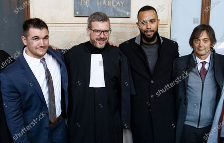(L-R) US citizen Alek Skarlatos, French lawyer Thibault de Montbrial, US citizen Anthony Sadler and Franco-American Mark Moogalian pose for a picture outside the court room during  the fifth day of the  Thalys attack trial, in Paris, France, 20 November 2020. On 21 August 2015, gunman Ayoub El-Khazzani opened fire with an assault rifle, shot and wounded three people on a Thalys train travelling between Amsterdam and Paris before the assailant was overpowered by passengers.The incident happened near Arras in northern France shortly after 1600 GMT and the gunman was arrested when the train stopped at the town's station.