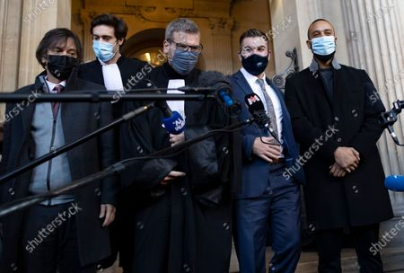 Passenger who was wounded in the 2015 Thalys train attack, Mark Moogalian (L), US citizens Alek Skarlatos (2-R) and Anthony Sadler (R) and French lawyer Thibault de Montbrial (C) leave the court room and hold a news conference during the fifth day of the Thalys attack trial, in Paris, France, 20 November 2020. On 21 August 2015, gunman Ayoub El-Khazzani opened fire with an assault rifle, shot and wounded three people on a Thalys train travelling between Amsterdam and Paris before the assailant was overpowered by passengers.The incident happened near Arras in northern France shortly after 1600 GMT and the gunman was arrested when the train stopped at the town's station.