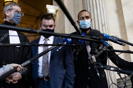 US citizens Alek Skarlatos (C) and Anthony Sadler (R) and French lawyer Thibault de Montbrial (L) leave the court room and hold a news conference during the fifth day of the Thalys attack trial, in Paris, France, 20 November 2020. On 21 August 2015, gunman Ayoub El-Khazzani opened fire with an assault rifle, shot and wounded three people on a Thalys train travelling between Amsterdam and Paris before the assailant was overpowered by passengers.The incident happened near Arras in northern France shortly after 1600 GMT and the gunman was arrested when the train stopped at the town's station.