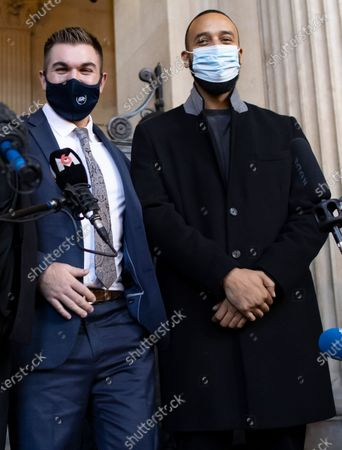 US citizens Alek Skarlatos (L) and Anthony Sadler (R) leave the court room and hold a news conference during the fifth day of the Thalys attack trial, in Paris, France, 20 November 2020. On 21 August 2015, gunman Ayoub El-Khazzani opened fire with an assault rifle, shot and wounded three people on a Thalys train travelling between Amsterdam and Paris before the assailant was overpowered by passengers.The incident happened near Arras in northern France shortly after 1600 GMT and the gunman was arrested when the train stopped at the town's station.