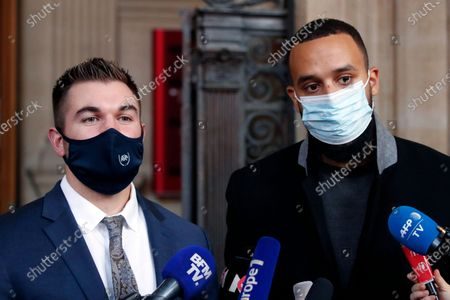 Stock Photo of Alek Skarlatos, left, and Anthony Sadler, right, deliver a speech during the Thalys attack trial at the Paris courthouse, . Passengers who wrestled and disarmed an Islamic State gunman aboard a high-speed Amsterdam to Paris train are recounting how their split-second decisions helped prevent what could have become a mass slaughter