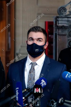 Alek Skarlatos delivers a speech at the end of his hearing during the Thalys attack trial at the Paris courthouse, . Passengers who wrestled and disarmed an Islamic State gunman aboard a high-speed Amsterdam to Paris train are recounting how their split-second decisions helped prevent what could have become a mass slaughter