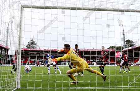 Asmir Begovic of Bournemouth sees the ball hit the post.