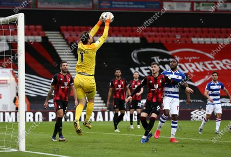 Asmir Begovic of Bournemouth makes a save.