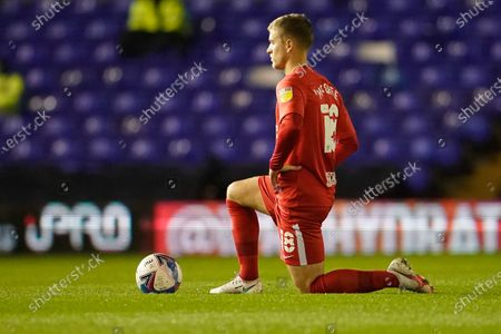 Riley McGree of Birmingham City takes a knee before kick off; St Andrews Stadium, Coventry, West Midlands, England; English Football League Championship Football, Coventry City v Birmingham City.