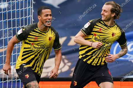 Ben Wilmot of Watford celebrates scoring the opening goal with William Troost-Ekong of Watford