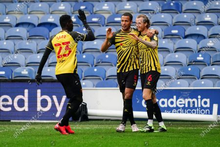 Stock Photo of Ben Wilmot of Watford celebrates scoring the opening goal with William Troost-Ekong of Watford and Ismaila Sarr of Watford