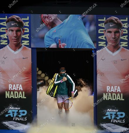 Rafael Nadal of Spain enters the court before the singles group match against Stefanos Tsitsipas of Greece at the ATP World Tour Finals 2020 in London, Britain, on Nov. 19, 2020.