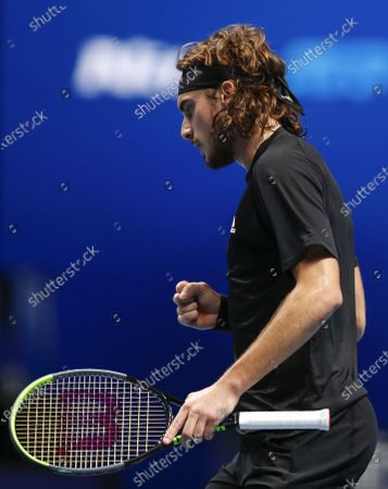Stefanos Tsitsipas of Greece reacts during the singles group match against Rafael Nadal of Spain at the ATP World Tour Finals 2020 in London, Britain, on Nov. 19, 2020.