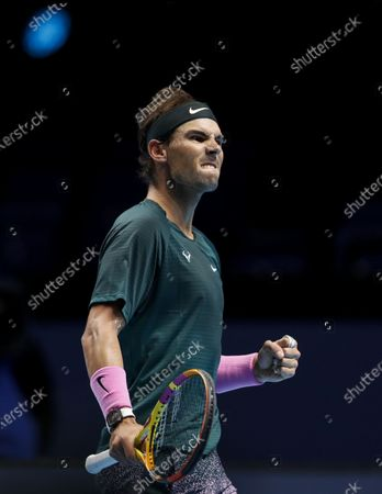 Rafael Nadal of Spain reacts during the singles group match against Stefanos Tsitsipas of Greece at the ATP World Tour Finals 2020 in London, Britain, on Nov. 19, 2020.