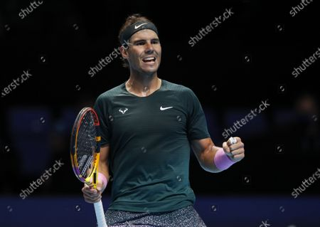 Rafael Nadal of Spain celebrates after winning the singles group match against Stefanos Tsitsipas of Greece at the ATP World Tour Finals 2020 in London, Britain, on Nov. 19, 2020.