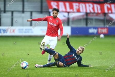 Stock Image of Bruno Andrade of Salford City and Tyler French of Bradford