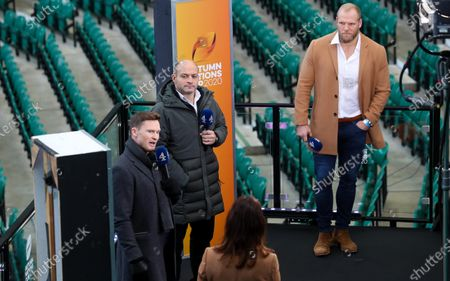 Stock Photo of Chris Ashton, Rory Best & James Haskell on Channel 4 Media duty