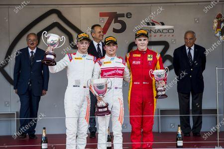 2017 FIA Formula 2 Round 3. Monte Carlo, Monaco. Saturday 27 May 2017. Johnny Cecotto Jr. (VEN, Rapax), Nyck De Vries (NED, Rapax) and Gustav Malja (SWE, Racing Engineering).  Photo: Zak Mauger/FIA Formula 2.