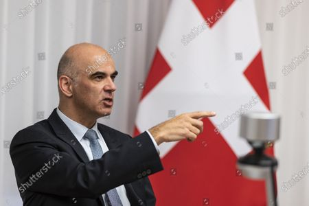 Federal Councillor Alain Berset, Swiss minister of home affairs, participates in an informal meeting of EU Gender Equality Ministers, in Bern, Switzerland, 20 November 2020. The meeting takes place by video transmission due to the Coronavirus, Covid-19 pandemic.