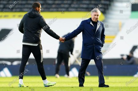 Stock Picture of Everton Manager Carlo Ancelotti shakes hands with Ruben Loftus-Cheek of Fulham