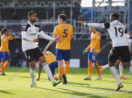 Stock Image of Ruben Loftus-Cheek of Fulham celebrates scoring with Ademola Lookman to make the score 2-3