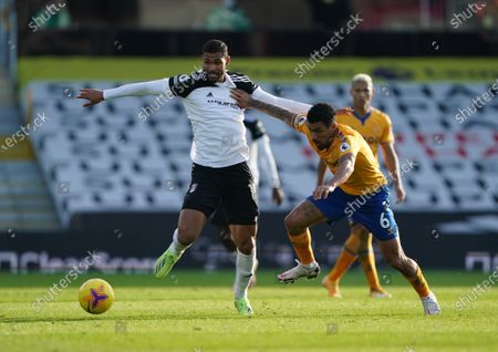 Stock Photo of Ruben Loftus-Cheek of Fulham is pushed back by Allan of Everton