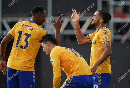 Dominic Calvert-Lewin of Everton celebrates scoring the opening goal inside a minute with Yerry Mina