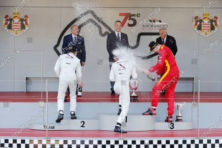 2017 FIA Formula 2 Round 3. Monte Carlo, Monaco. Saturday 27 May 2017. Winner Nyck De Vries (NED, Rapax) sprays the champagne on the podium with Johnny Cecotto (VEN, Rapax) and Gustav Malja (SWE, Racing Engineering).  World Copyright: Zak Mauger/FIA Formula 2.