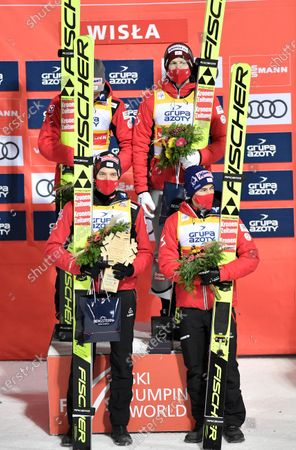 Michael Haybock, Philipp Aschenwald, Daniel Huber end Stefan Kraft of Austria