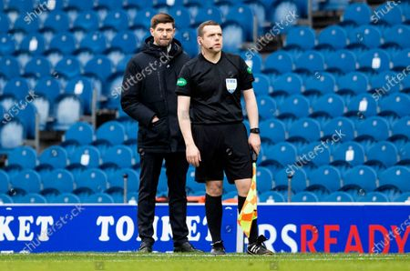 Rangers Manager Steven Gerrard and Douglas Ross MP Scottish Conservative Party Leader and Assistant Referee.
