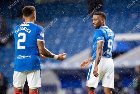 James Tavernier and Jermain Defoe of Rangers.