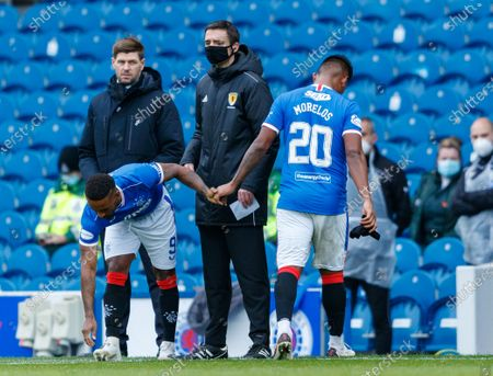 Stock Image of Rangers Manager Steven Gerrard looks at Alfredo Morelos of Rangers as he substituted for Jermain Defoe