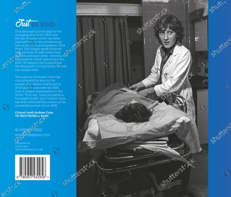 Picture shows the back cover paramedic photographer Chris Porsz's book called Just Be Kind. A paramedic has spent more than 40 years photographing the changing face of the NHS - and published his pictures in a new book. Amateur photographer Chris Porsz, 67, spent many of his days off over the last four decades accompanying colleagues to capture the patient's journey from the 999 call to the hospital. He has taken hundreds of pictures of doctors, nurses, patients and wards at three hospitals in Peterborough, Cambridgeshire and now produced a book, Just Be Kind, with part proceeds going to Breast Cancer Research.Chris took dozens of photos over the years, whilst working as a porter and later a paramedic, and his pictures offer a unique behind-the-scenes view of the NHS from the 1980s, with nurses neatly dressed in blue gingham and frilly hats, to the present with masked doctors dealing with the coronavirus pandemic.