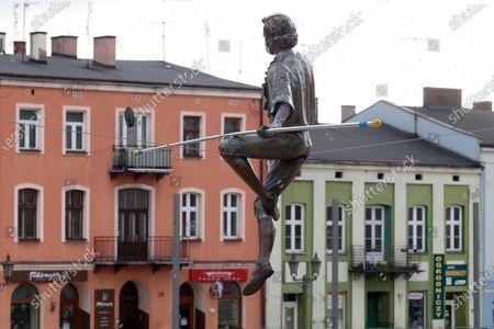 Editorial picture of Balancing sculpture in Czestochowa, Poland - 20 Nov 2020
