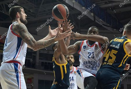 Euroleague basketball. Khimki (Khimki, Russia) vs Anadolu Efes (Istanbul, Turkey) at the Arena Mytishchi stadium. Anadolu Efes player James Anderson (second right) during a match.