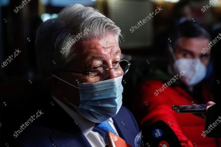 Atletico Madrid's president Enrique Cerezo wearing a protective face mask talks to journalists during an event to commemorate the 10th anniversary of Spain's victory at the 2010 FIFA World Cup in Madrid, Spain, 20 November 2020. Spain defeated the Netherlands 1-0 after extra time in the 2010 FIFA World Cup final at Soccer City Stadium in Johannesburg, South Africa on 11 July 2010.