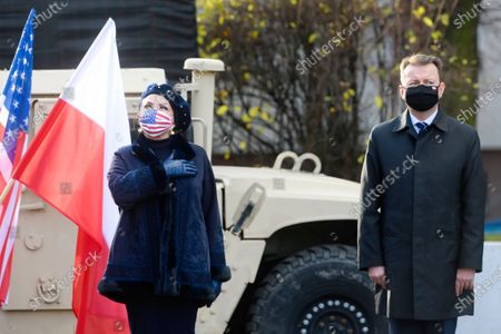 Polish Defence Minister Mariusz Blaszczak (R) and US Ambassador to Poland Georgette Mosbacher (L) attend an official inauguration of the forward command of the 5th US Army Corps in Poznan, west-central Poland, 20 November 2020.