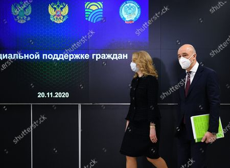Visit of Russian Prime Minister Mikhail Mishustin to Dubna. Russian Deputy Prime Minister Tatyana Golikova (left) and Russian Finance Minister Anton Siluanov (right) before a meeting on infrastructure and technological support of the social sphere in the new Federal Data Processing Center of the Federal Tax Service of Russia.