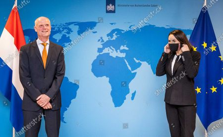 Stock Image of Foreign Minister Stef Blok (L) receives Belarusian opposition leader Svetlana Tikhanovskaya in The Hague, The Netherlands, 20 November 2020. Tikhanovskaya asked for support for the Belarus opposition which has been protesting against Alexander Lukashenko's regime for months.