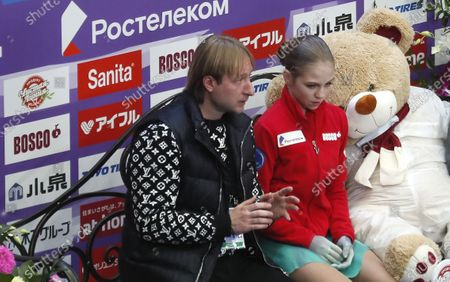 Alexandra Trusova of Russia and her coach Evgeni Plushenko wait for the score after performing during the Ladies Short program at the 2020 Rostelecom Cup of Russia ISU Grand Prix of Figure Skating in Moscow, Russia, 20 November 2020.