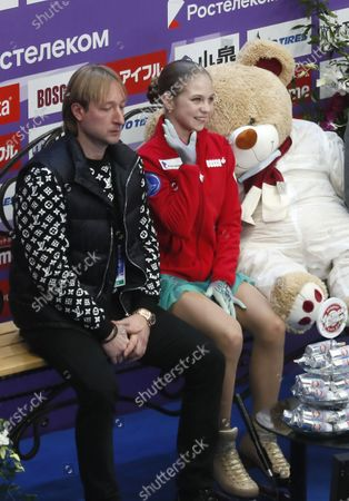 Stock Photo of Alexandra Trusova of Russia and her coach Evgeni Plushenko wait for the score after performing during the Ladies Short program at the 2020 Rostelecom Cup of Russia ISU Grand Prix of Figure Skating in Moscow, Russia, 20 November 2020.